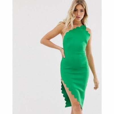 エイソス ASOS DESIGN レディース ボディコンドレス ワンピース・ドレス Scallop detail bodycon mini dress Green