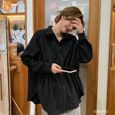 ブラウス シャツ レディース 黒 長袖 重ね着風 おしゃれ 春服