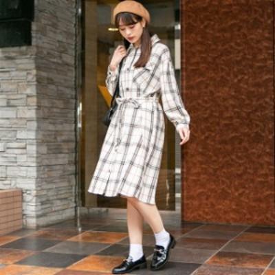 ワンピース コットンチェック 共生地ベルトリボン付きBIGシャツワンピースレディース ワンピース ドレス ワンピース