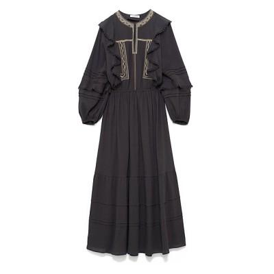 <CASA FLINE(Women)/カーサフライン> カラーエンブロイダリードレス BLACK【三越伊勢丹/公式】
