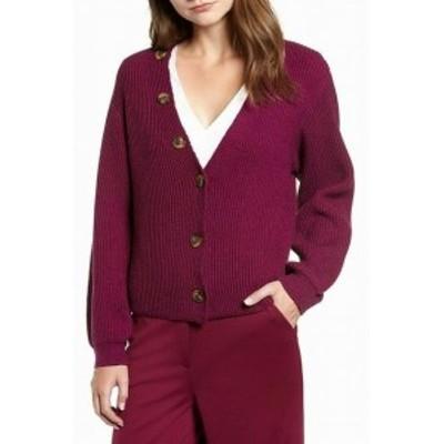 ファッション トップス Chriselle Lim Womens Purple Size Large L Button Down Cardigan Sweater