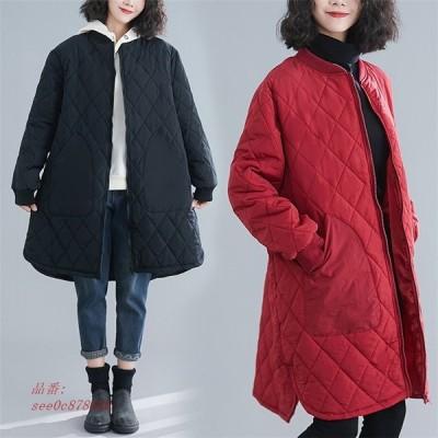 レディース 中綿コート キルティングコート 綿入れ ロング オーバーコート ノーカラー 軽量 女子アウター