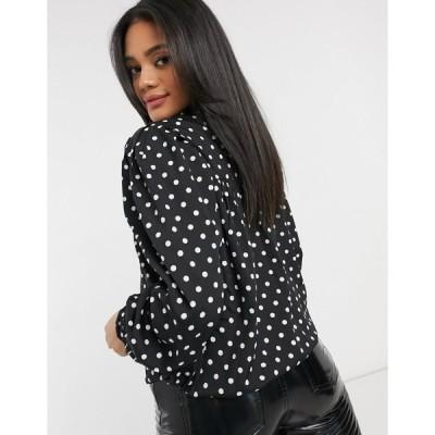 アックスパリ レディース カットソー トップス AX Paris high-neck smock blouse in polka-dots Blk & wht polka-dots