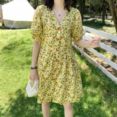 ワンピース きれいめ スカート ワンピース 花柄フロントボタンワンピース フロントボタン 半袖 花柄 ひざ丈 ガーリー フェミニン きれい