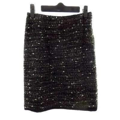 【中古】エムプルミエ ブラック M-Premier BLACK スカート タイト ひざ丈 ツイード 34 黒 ブラック /MK レディース 【ベクトル 古着】
