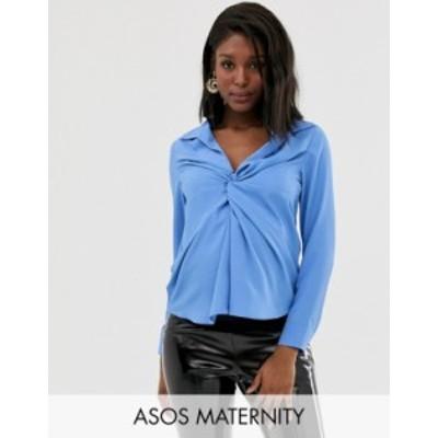 エイソス レディース シャツ トップス ASOS DESIGN Maternity long sleeve plunge shirt with knot front Blue