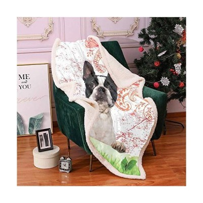 SeptSonne Dog Lover Plush Blanket,Happy Pet Animal on Swirls and Curlicues Backdrop Vintage Elements Detailed Motif Light Thermal Blanket,sn