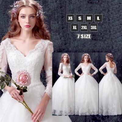 ウェディングドレス Aライン Vネック 背中見せ シンプル ロングドレス 袖あり 細身 フラワーブラ 可愛いレース 結婚式 花嫁 新作 20代30代40代50代