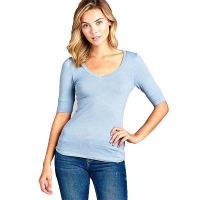 レディース 衣類 トップス Essential Basic Women's Cotton Blend V Neck Tee Shirt Half Sleeves - Cloud Blue S Tシャツ