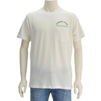 フランクリン&マーシャル FRANKLIN ミルクホワイト ポケット上にロゴ Surfバックプリント コットン半袖Tシャツ メンズ Men's ティーシャツ