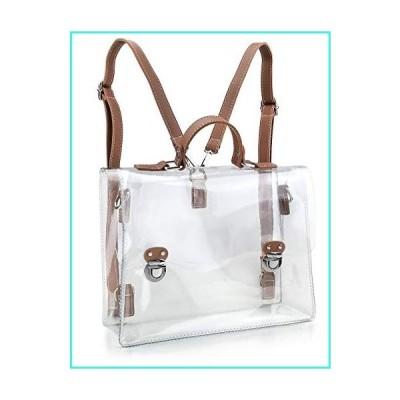 【新品】Clear Vintage Satchel Backpack Multifunction Unisex Transparent Shoulder Handbag Messenger Cross Body Bag Stadium Approved(並行輸入