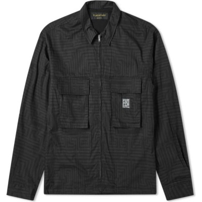 フラグスタフ Flagstuff メンズ ジャケット シャツジャケット アウター Maze Printed Shirt Jacket Black