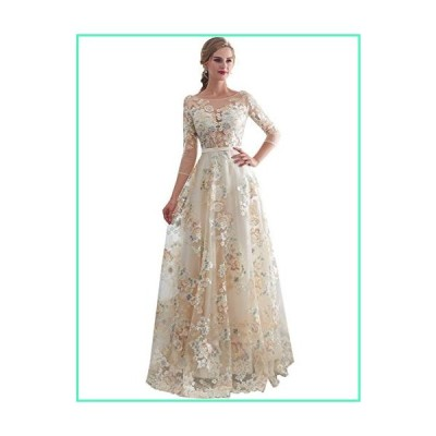 Sarahbridal Women's Embroidery Floral Print Tulle Evening Prom Dress with Long Sleeve Champagne US16並行輸入品
