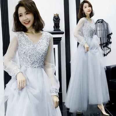 パーティードレス イブニングドレス ロングドレス 誕生会 結婚式 披露宴 ウエディングドレス プリンセス 発表会