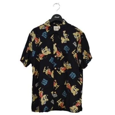 HYSTERIC GLAMOUR 17SS HEY JOEY オープンカラーシャツ ブラック サイズ:S (心斎橋アメリカ村店) 210403