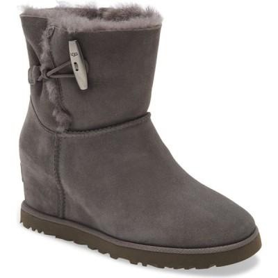 アグ UGG レディース ブーツ ウェッジソール シューズ・靴 Classic Femme Toggle Wedge Boot Charcoal Suede