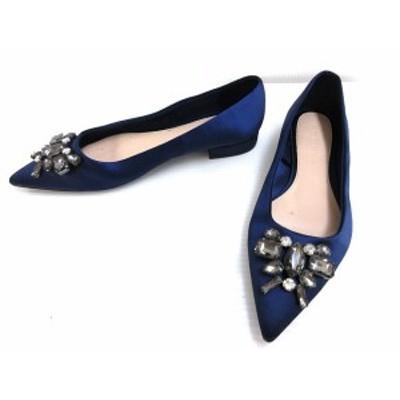 【中古】ザラウーマン ビジュー サテン パンプス フラット ポインテッドトゥ 36 ネイビー 紺 シューズ 靴 レディース