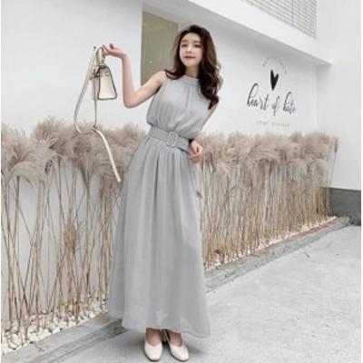 お呼ばれドレス ワンピース ドレス シフォン ウエストマーク 大きいサイズ 袖なし ノースリーブ パーティドレス ロングワンピース 結婚式