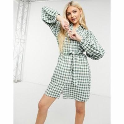 ヴィラ Vila レディース ワンピース シャツワンピース ワンピース・ドレス Mini Shirt Dress With Tie Waist In Check スノウホワイト