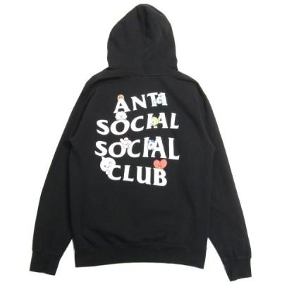 Anti Social Social Club x BT21 Peekaboo Black Hoodie ロゴプリントフーディー プルオーバーパーカー