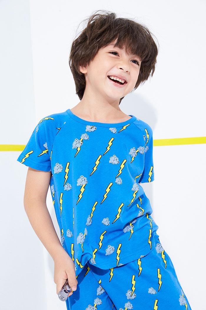 男童上身_夢想家.拉格蘭短袖睡衣(藍-閃電)