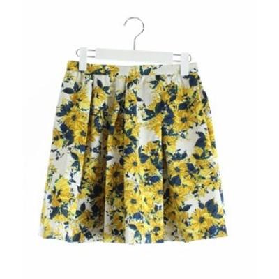 【中古】未使用品 ジルスチュアート JILL STUART ギャザースカート フレア ミニ 花柄 2 黄色