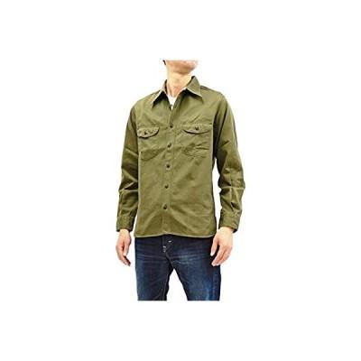 (バズリクソンズ) Buzz Rickson BR26081 ヘリンボーン ミリタリー ワークシャツ メンズ 無地 長袖シャツ (オリーブ, L)