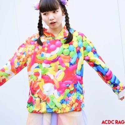POPキャンディーBIGパーカー 原宿系 ファッション パーカー 派手 かわいい 派手カワ カラフル 大きいサイズ オーバーサイズ 長袖 薄手 レ