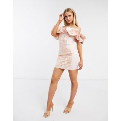 エイソス レディース ワンピース トップス ASOS DESIGN jacquard bubble neckline mini dress in pink