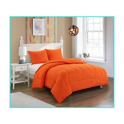 pop shop University All Season Easy-Wash Alternative Reversible Bright Solid Ultra-Soft Lightweight Microfiber Comforter Set, Twin XL, Orange【並行
