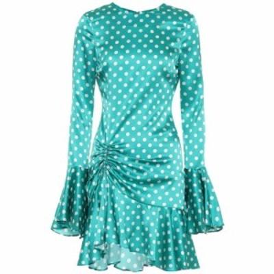 キャロライン コンスタス Caroline Constas レディース ワンピース ワンピース・ドレス Monique polka-dot stretch-silk dress Teal