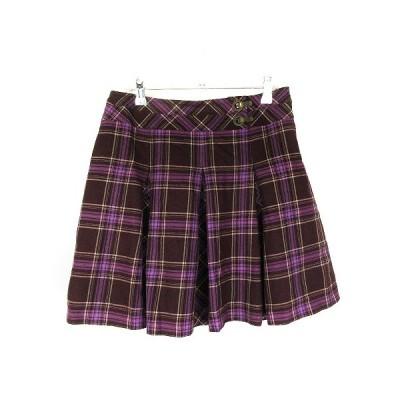 【中古】クミキョク 組曲 KUMIKYOKU スカート フレア ミニ チェック 3 紫 パープル /CK レディース 【ベクトル 古着】