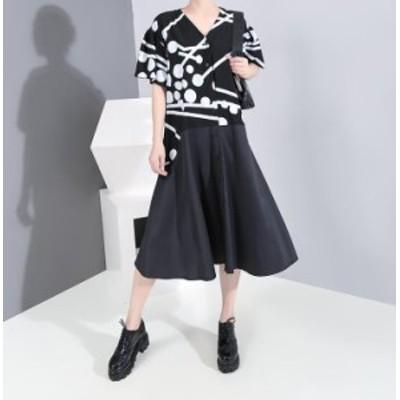 韓国ファッション エレガント 重ね着風 Vネック ワンピース レデイース 落ち着く ベルト付き チュニック 着痩せ 半袖 お洒落 スタイリッ