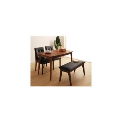 ダイニングテーブルセット 4人用 さっと拭ける PVCレザーダイニング 4点セット テーブル+チェア2脚+ベンチ1脚 W115 5000237367
