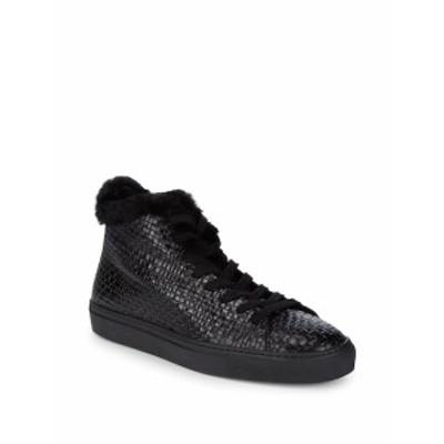 アクアタリア メンズ スニーカー Alonzo Sheep Fur and Leather Embossed Platform Sneakers