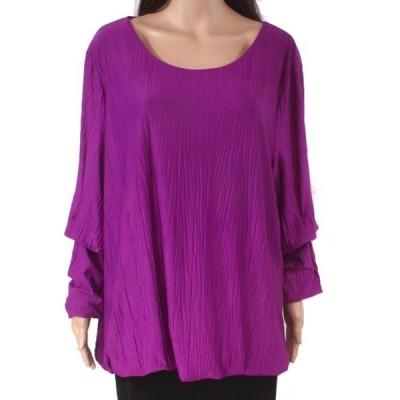 レディース 衣類 トップス Women's Blouse Plus Crinkle Bubble-Sleeve 4X ブラウス&シャツ