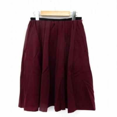 【中古】ロペ ROPE スカート フレア 膝丈 サイドジップ シンプル 38 ワインレッド /ST38 レディース 【ベクトル 古着】