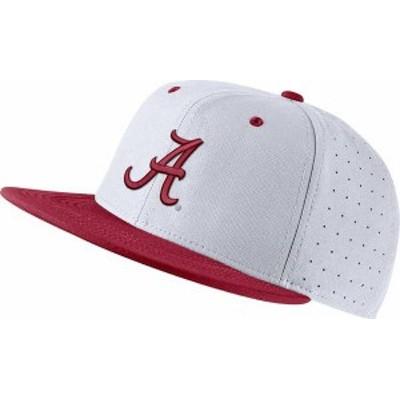 ナイキ メンズ 帽子 アクセサリー Nike Men's Alabama Crimson Tide White Fitted Baseball Hat