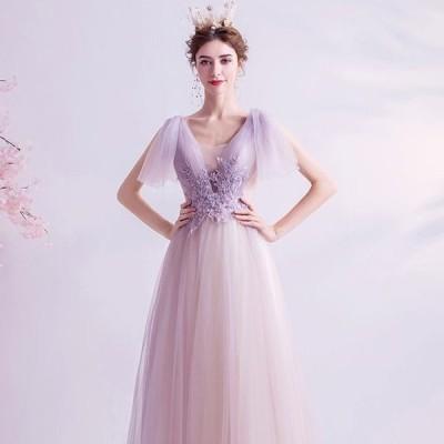 ANGEL 肌透け チュール レース ビーズ 半袖付き 背中編上げ トレーン Aライン ロングドレス ラベンダー パープル 紫