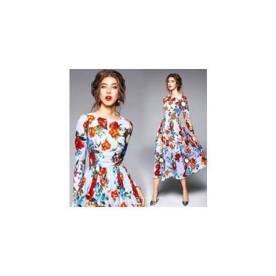 ワンピース花柄OLミドル通勤セクシードレス