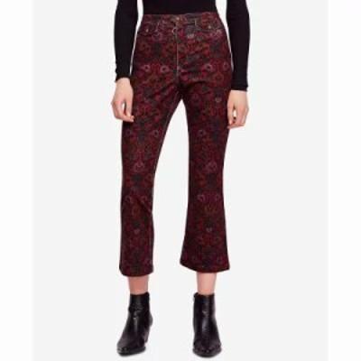 フリーピープル ジーンズ・デニム Printed Cropped Flared Jeans Wine