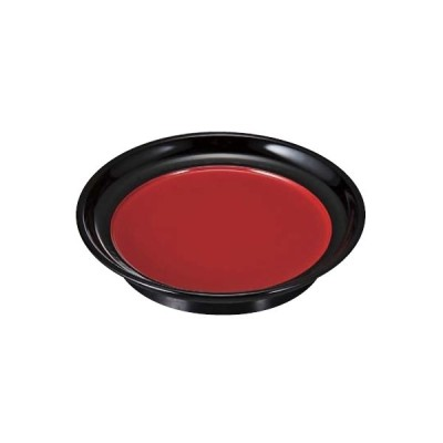 菓子皿 銘々皿 5寸椿皿 内朱渕黒 メラミン樹脂 f6-1451-23
