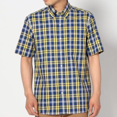 Kent メンズ 【在庫限り】半袖パナマチェックシャツ マスタード LL