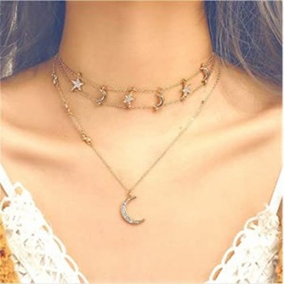 Cathercing Boho Layered Moon Star Choker Necklaces Chain for Women and Girls Moon Pendant Necklace Cute Jewelry for Gift (Gold)