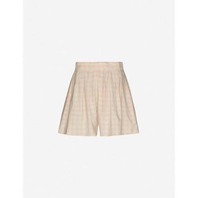 アナーク ANAAK レディース ショートパンツ ボトムス・パンツ Annex wide-leg high-rise cotton shorts Pink Shadow Stripe