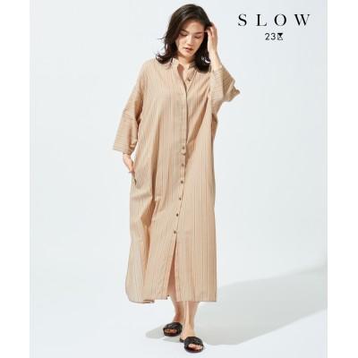 【SLOW】リフレッシュストライプロングシャツワンピース(番号T32)