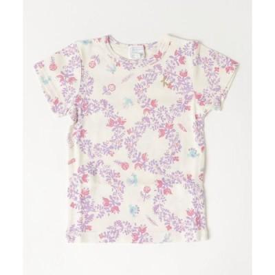 tシャツ Tシャツ コットンキャンディ レトロフラワーバードプリントTシャツ