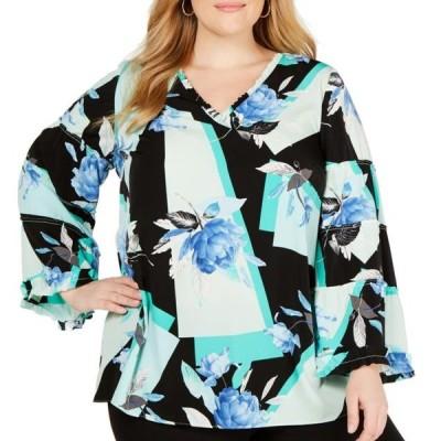 レディース 衣類 トップス Womens Blouse Black Green Plus Floral Frill-Trim Bell Sleeve ブラウス&シャツ