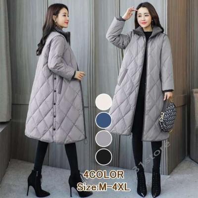 中綿コートダウン風コートレディースロング丈ダウン風ジャケット冬アウターゆったり暖かい大きいサイズ40代50代60代