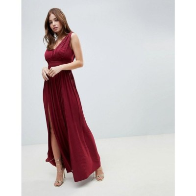 エイソス ASOS DESIGN レディース ワンピース マキシ丈 ワンピース・ドレス Fuller Bust Premium Lace Insert Pleated Maxi Dress バーガンディ